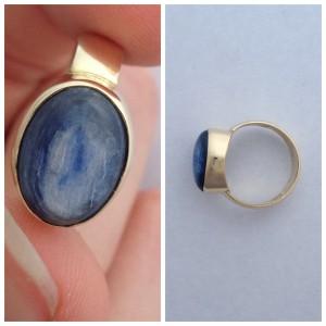 Uniek en handgemaakt door onze goudsmid: gouden ring met een ovale kyanieth.